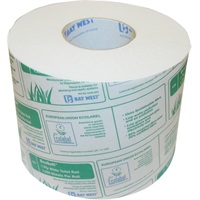 Click for a bigger picture.Bay West Ecosoft Toilet Roll - 1ply White 142.5m 1250 sheets per roll   36 rolls per case